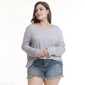 Long Sleeve Round Neck Loose Plus Size Fat Women's T-Shirt gray 3xl