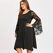 Casual Black Lace Flare Long Sleeve Dress