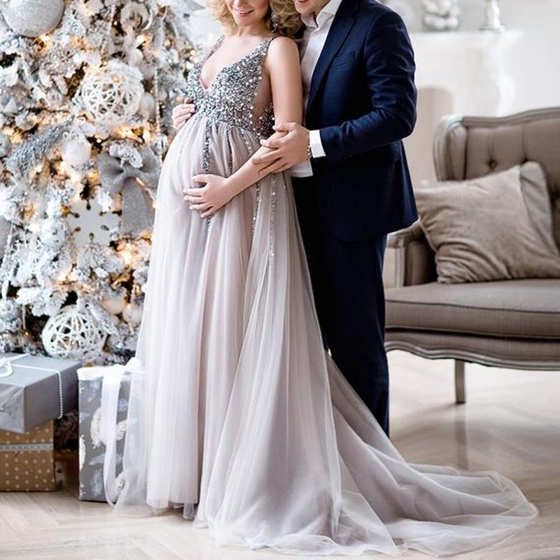 Maternity V-Neck Maxi Tulle Gown With Tonal Delicate Sequins same_as_photo m