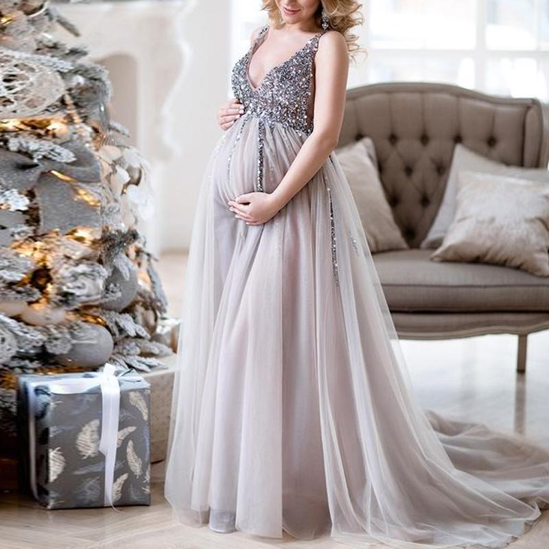 Maternity V-Neck Maxi Tulle Gown With Tonal Delicate Sequins same_as_photo xl