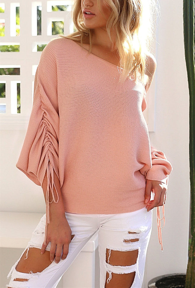A Casual Open-Shoulder Pit Sweater Jacket pink m