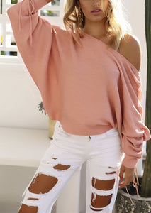 A Casual Open-Shoulder Pit Sweater Jacket pink xl