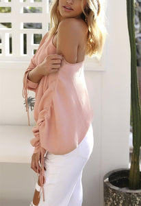 A Casual Open-Shoulder Pit Sweater Jacket pink l