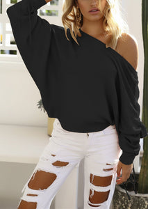 A Casual Open-Shoulder Pit Sweater Jacket black xl
