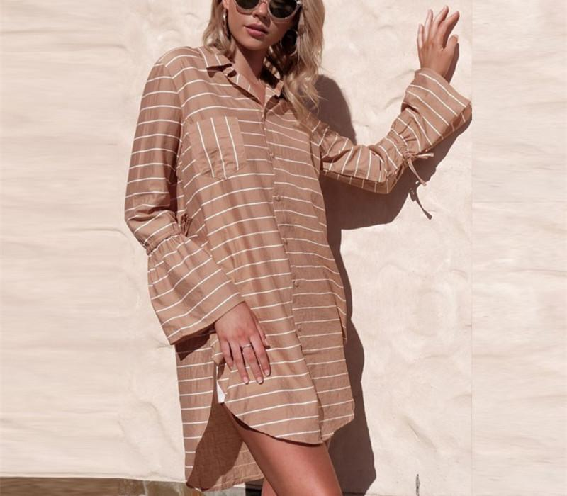 Loose Medium And Long Print Striped Shirt camel m