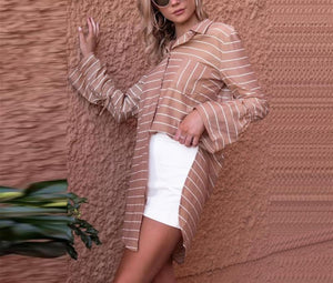 Loose Medium And Long Print Striped Shirt camel l