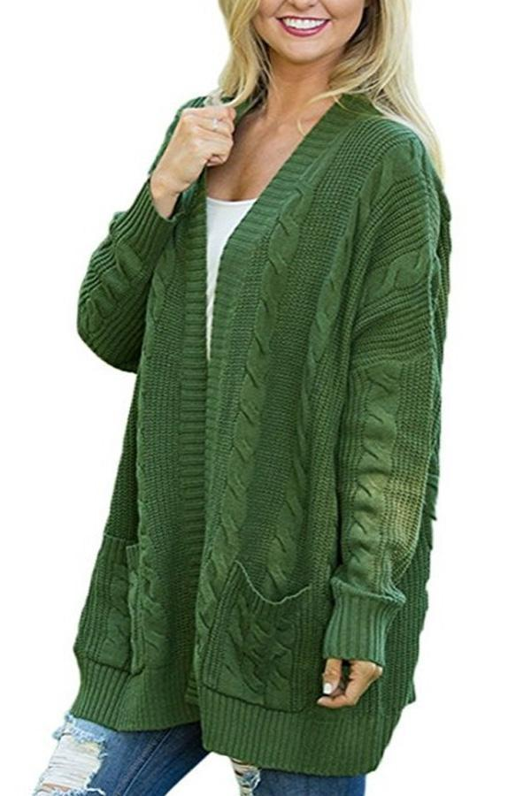 Kangaroo Pocket  Plain Basic  Cardigans green s