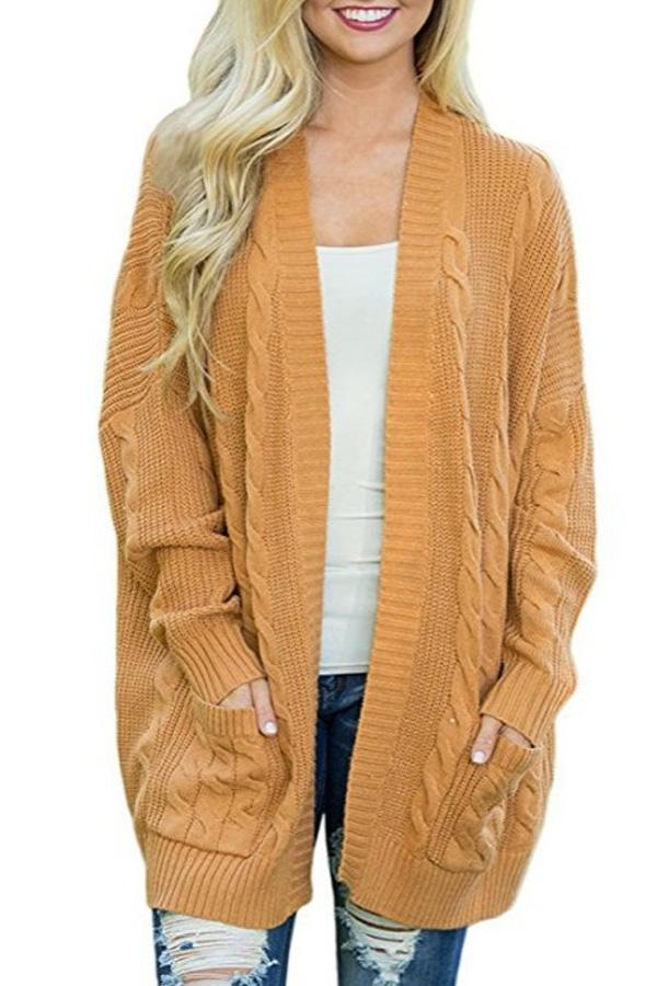 Kangaroo Pocket  Plain Basic  Cardigans yellow s
