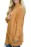 Kangaroo Pocket  Plain Basic  Cardigans yellow xl