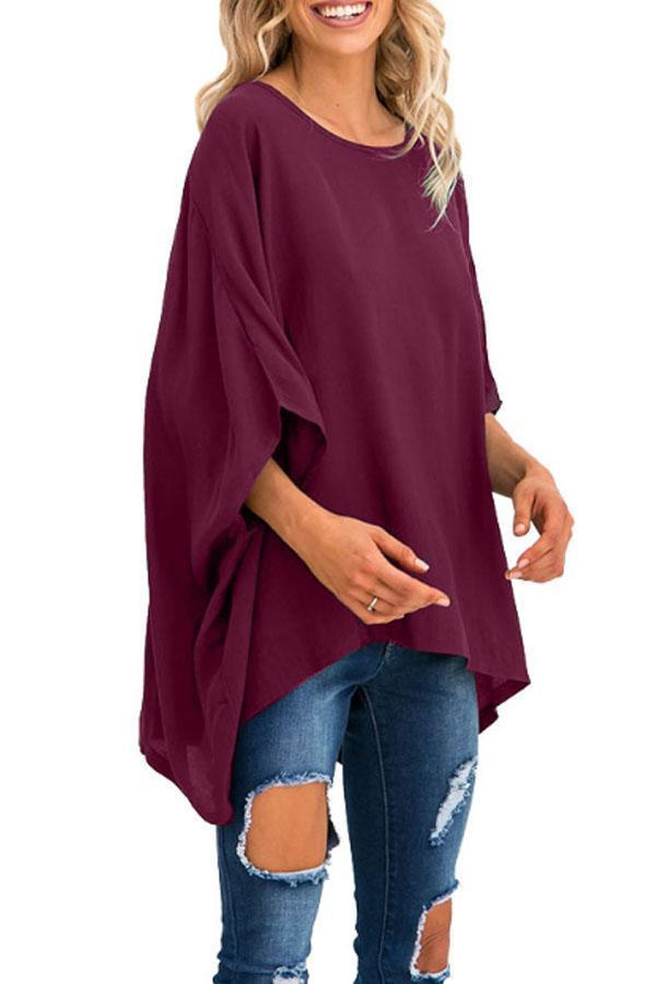 Round Neck  Asymmetric Hem  Plain  Batwing Sleeve T-Shirts Claret Red xl