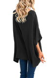 Round Neck  Asymmetric Hem  Plain  Batwing Sleeve T-Shirts Green s