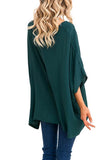 Round Neck  Asymmetric Hem  Plain  Batwing Sleeve T-Shirts Green xl