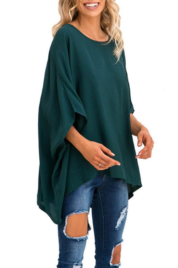 Round Neck  Asymmetric Hem  Plain  Batwing Sleeve T-Shirts Claret Red s