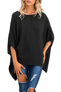 Round Neck  Asymmetric Hem  Plain  Batwing Sleeve T-Shirts Black l