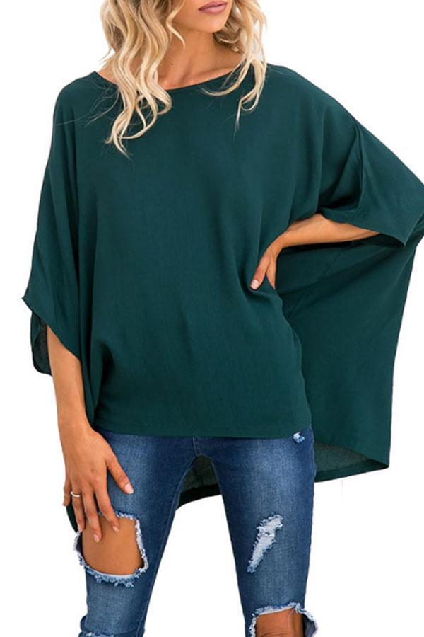 Round Neck  Asymmetric Hem  Plain  Batwing Sleeve T-Shirts Green l