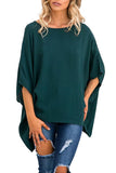 Round Neck  Asymmetric Hem  Plain  Batwing Sleeve T-Shirts Green m