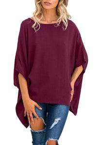 Round Neck  Asymmetric Hem  Plain  Batwing Sleeve T-Shirts Claret Red l