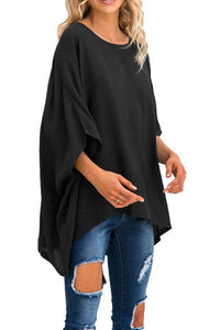 Round Neck  Asymmetric Hem  Plain  Batwing Sleeve T-Shirts Black xl