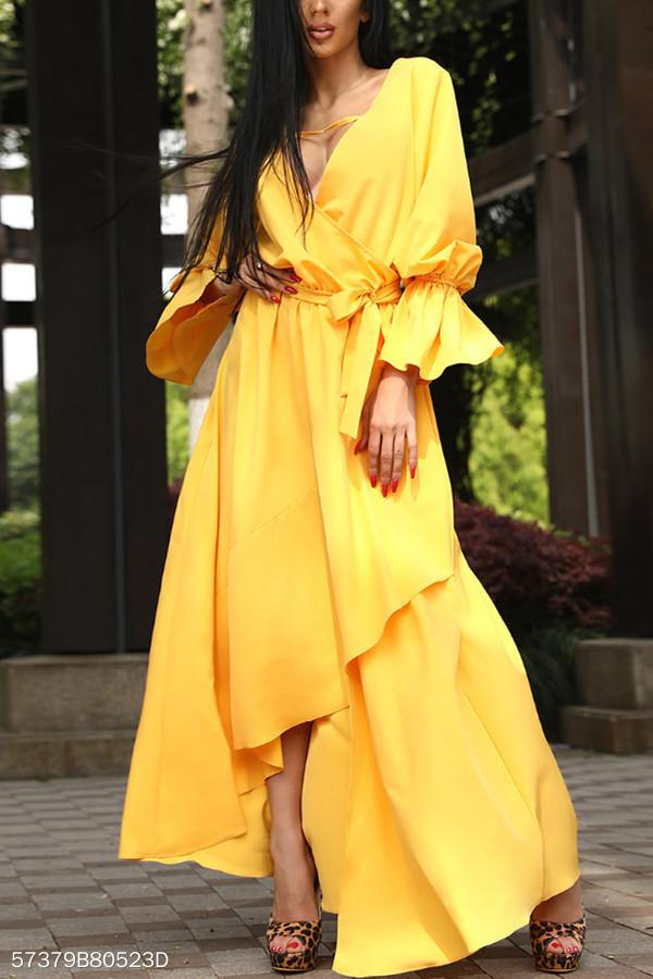 A Waist V Collar Yellow Irregular Swagger Dress yellow s