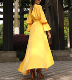 A Waist V Collar Yellow Irregular Swagger Dress yellow l
