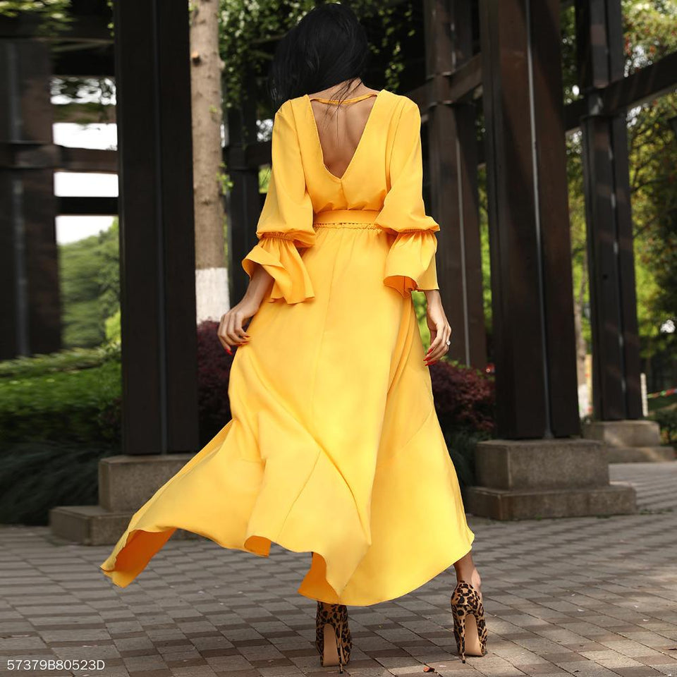 A Waist V Collar Yellow Irregular Swagger Dress yellow xl