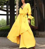 A Waist V Collar Yellow Irregular Swagger Dress yellow m