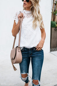 High Neck  Hollow Out Plain  Blouses white m