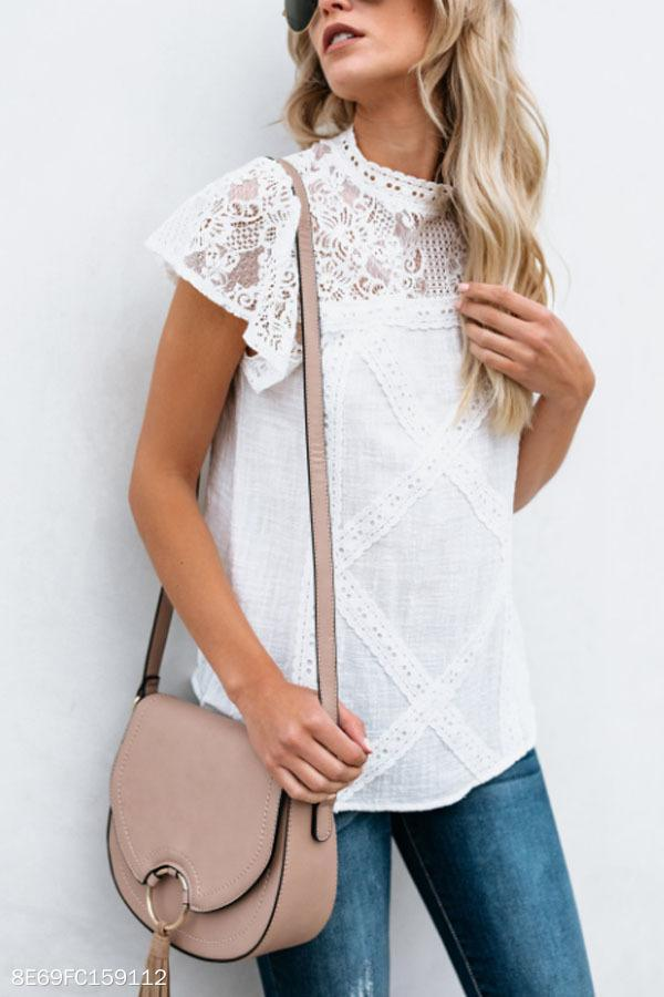 High Neck  Hollow Out Plain  Blouses white s