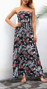 Calladream Women Floral Printing Sexy Off Shoulder Polyester Long Dress black m