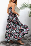 Calladream Women Floral Printing Sexy Off Shoulder Polyester Long Dress black l