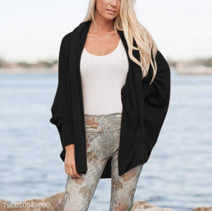 Long Bat Sleeve Pure Color Knitted Cardigan
