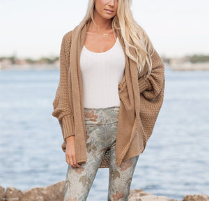 Long Bat Sleeve Pure Color Knitted Cardigan gray one size