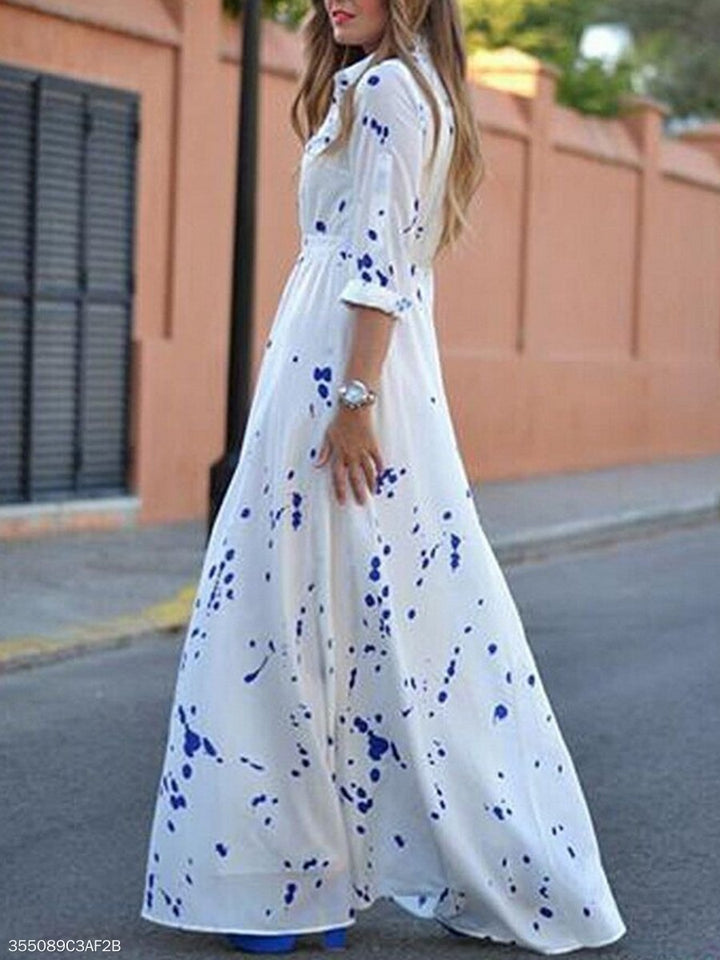 Turn Down Collar  Printed Maxi Dress white xl