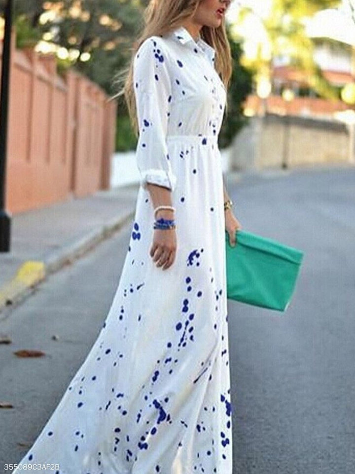 Turn Down Collar  Printed Maxi Dress white l