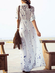 Turn Down Collar  Printed Maxi Dress white 2xl