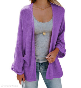 Fashion Pure Color Long-Sleeved Knitted Cardigan purple s