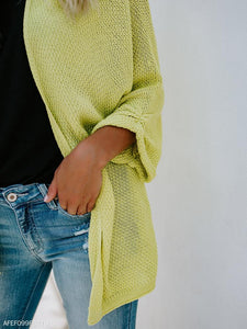Fashion Pure Color Long-Sleeved Knitted Cardigan yellow s