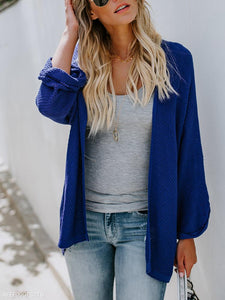 Fashion Pure Color Long-Sleeved Knitted Cardigan blue m
