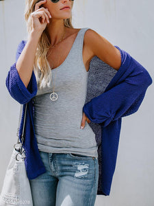 Fashion Pure Color Long-Sleeved Knitted Cardigan blue l