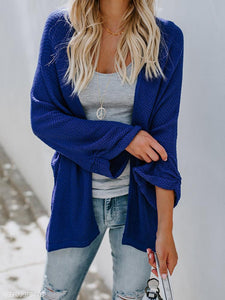 Fashion Pure Color Long-Sleeved Knitted Cardigan blue xl