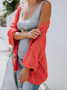 Fashion Pure Color Long-Sleeved Knitted Cardigan orange l