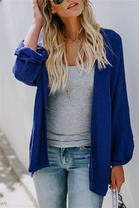 Fashion Pure Color Long-Sleeved Knitted Cardigan blue s
