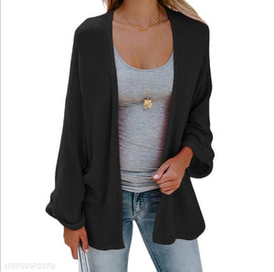 Fashion Pure Color Long-Sleeved Knitted Cardigan black xl