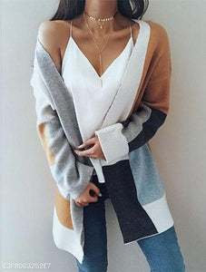 Medium And Long Color Long-Sleeved Sweater same_as_photo xl