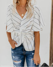 Sexy Waist Up Thin V Collar Striped Chiffon Bat Sleeve Top