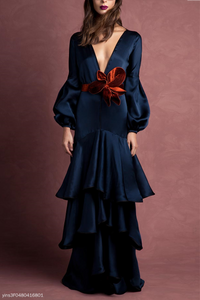 Elegant Noble Slim Plain Deep V Collar Puff Long Sleeve Ruffled Hem Evening Dress same_as_photo 2xl