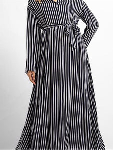 Fashion Business Loose Strip V Collar Long Sleeve Maxi Dress stripe l