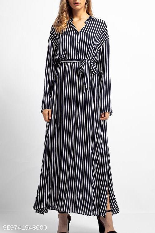 Fashion Business Loose Strip V Collar Long Sleeve Maxi Dress stripe s