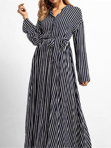 Fashion Business Loose Strip V Collar Long Sleeve Maxi Dress stripe m