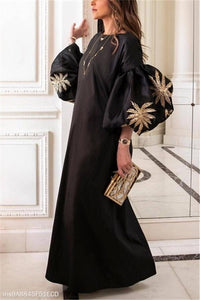 Round Collar Loose Bubble Sleeve Printing Maxi Dress black s
